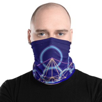 West East Designs Neon Night Sky Sacred Geometry Neck Gaiter - Dark Navy and Blue with Yellow and Violet - Versatile Accessory: Face Covering, Mask, Headband, Bandana, Wristband, Neck Warmer